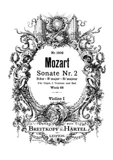 Church Sonata for Two Violins, Organ and Basso Continuo No.2 in B Flat Major, K.68: Violin I part by Wolfgang Amadeus Mozart