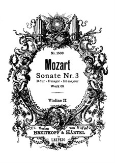 Church Sonata for Two Violins, Organ and Basso Continuo No.3 in D Major, K.69: Violin II part by Wolfgang Amadeus Mozart