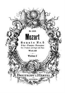 Church Sonata for Two Violins, Organ and Basso Continuo No.5 in F Major, K.145: Violin I part by Wolfgang Amadeus Mozart