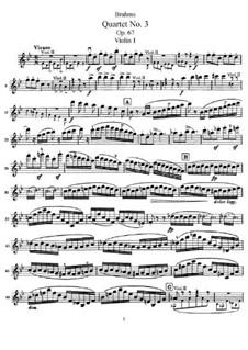 String Quartet No.3 in B Flat Major, Op.67: Violin I part by Johannes Brahms