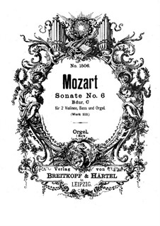 Church Sonata for Two Violins, Organ and Basso Continuo No.6 in B Flat Major, K.212: Organ part by Wolfgang Amadeus Mozart