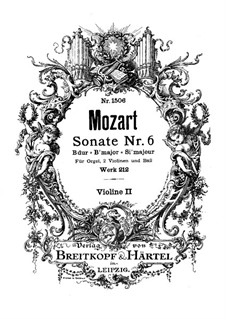 Church Sonata for Two Violins, Organ and Basso Continuo No.6 in B Flat Major, K.212: Violin II part by Wolfgang Amadeus Mozart