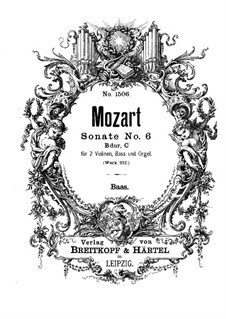 Church Sonata for Two Violins, Organ and Basso Continuo No.6 in B Flat Major, K.212: Basso continuo part by Wolfgang Amadeus Mozart