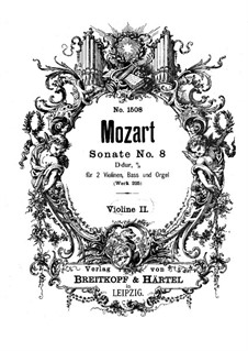 Church Sonata for Two Violins, Organ and Basso Continuo No.8 in A Major, K.225: Violin II part by Wolfgang Amadeus Mozart