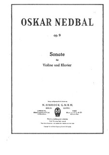 Sonata for Violin and Piano, Op.9: Score by Oskar Nedbal