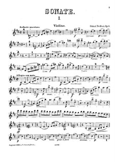 Sonata for Violin and Piano, Op.9: Solo part by Oskar Nedbal