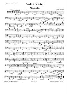 Valse triste for String Quartet: Сello part by Oskar Nedbal
