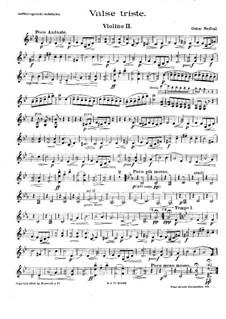Valse triste for String Quartet: Violin II part by Oskar Nedbal