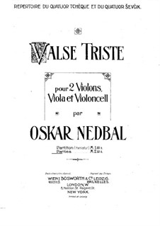 Valse triste for String Quartet: Violin I part by Oskar Nedbal
