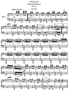 Five Spanish Dances, Op.12: For piano four hands by Moritz Moszkowski
