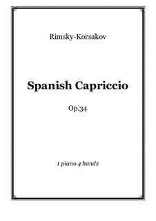 Capriccio Espagnol, Op.34: For piano four hands – score and parts by Nikolai Rimsky-Korsakov