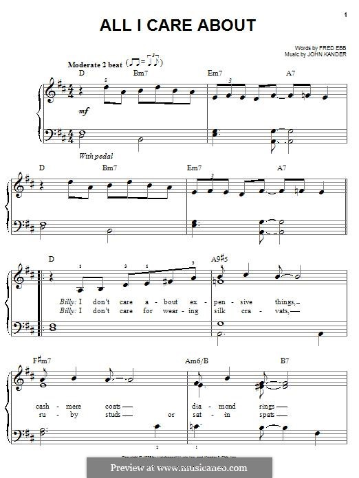 All I Care About: For piano by John Kander