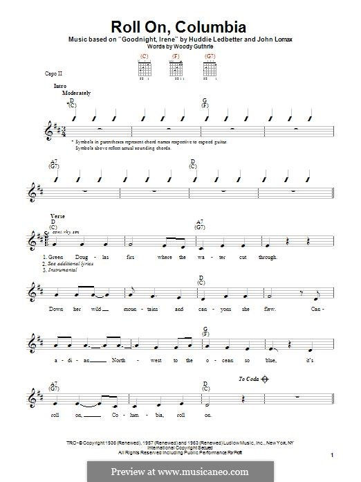 Roll On, Columbia (Woody Guthrie): For guitar with tab by Huddie Ledbetter, John A. Lomax