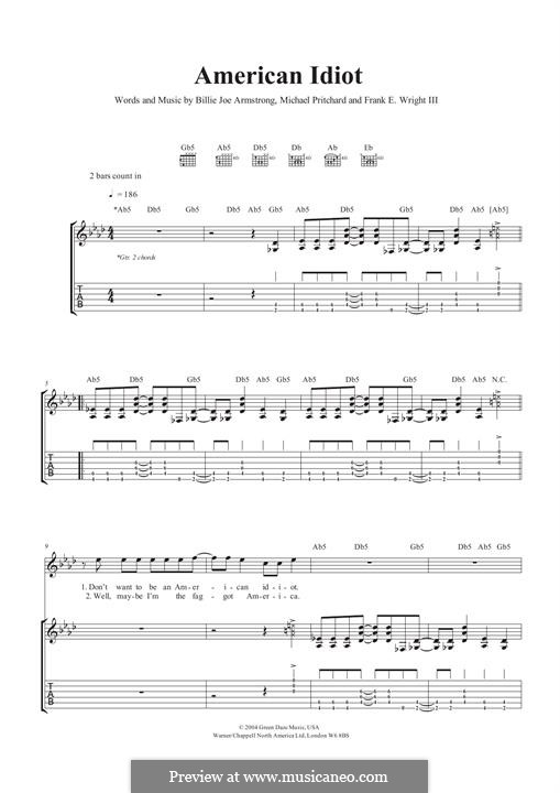 American Idiot (Green Day): For guitar with tab by Billie Joe Armstrong, Tré Cool, Michael Pritchard