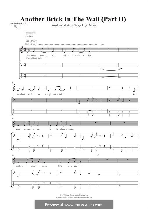 Another Brick in the Wall: Part II, for bass guitar with tab by Roger Waters