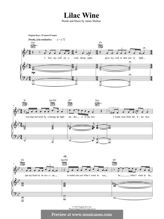 Lilac Wine (Katie Melua): For voice and piano (or guitar) by James Shelton