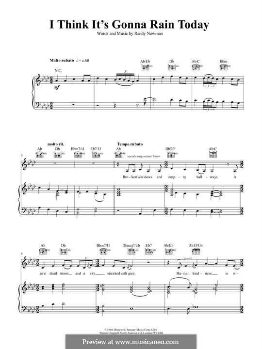 I Think it's Going to Rain Today (Katie Melua): For voice and piano (or guitar) by Randy Newman
