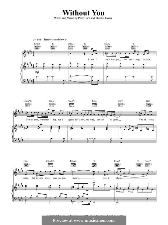 Without You (Badfinger): For voice and piano (or guitar) by Peter Ham, Tom Evans