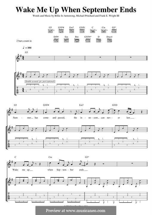 Wake Me Up When September Ends (Green Day): For guitar with tab by Billie Joe Armstrong, Tré Cool, Michael Pritchard