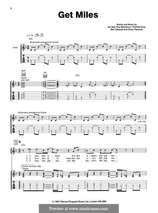 Get Miles (Gomez): For guitar with tab by Thomas J. Gray, Benjamin Ottewell, Ian Ball, Oliver Peacock, Paul Blackburn