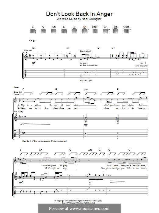 Don't Look Back in Anger (Oasis): For guitar with tab by Noel Gallagher