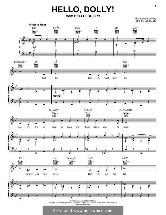 Hello Dolly (Louis Armstrong): For voice and piano (or guitar) by Jerry Herman