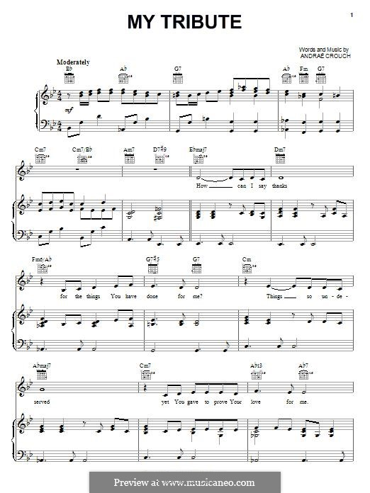 My Tribute: For voice and piano (or guitar) by Andrae Crouch