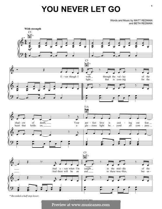 You Never Let Go: For voice and piano (or guitar) by Matt Redman, Beth Redman