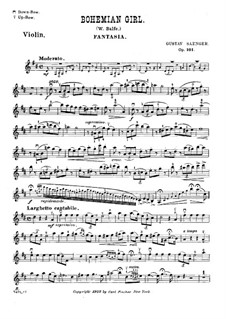 Fantasia on Themes from 'The Bohemian Girl' by  Balfe, Op.101: For violin and piano – violin part by Gustav Saenger