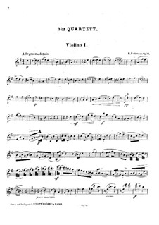 String Quartet No.3 in G Major, Op.34: Violin I part by Robert Volkmann