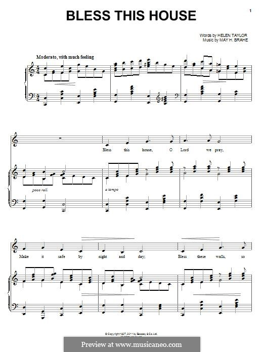 Bless This House: For voice and piano by May H. Brahe