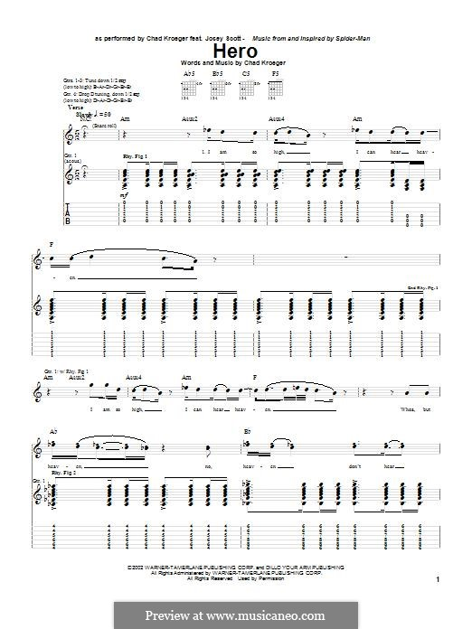 Hero: For guitar with tab by Chad Kroeger