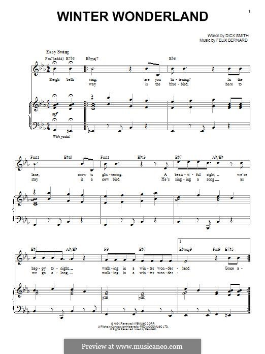Winter Wonderland: For voice and piano by Felix Bernard