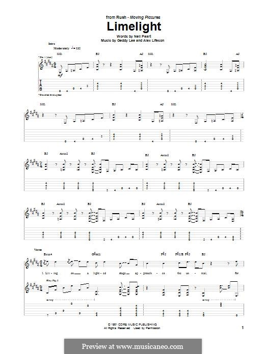 Limelight (Rush): For guitar with tab by Alex Lifeson, Geddy Lee, Neil Peart