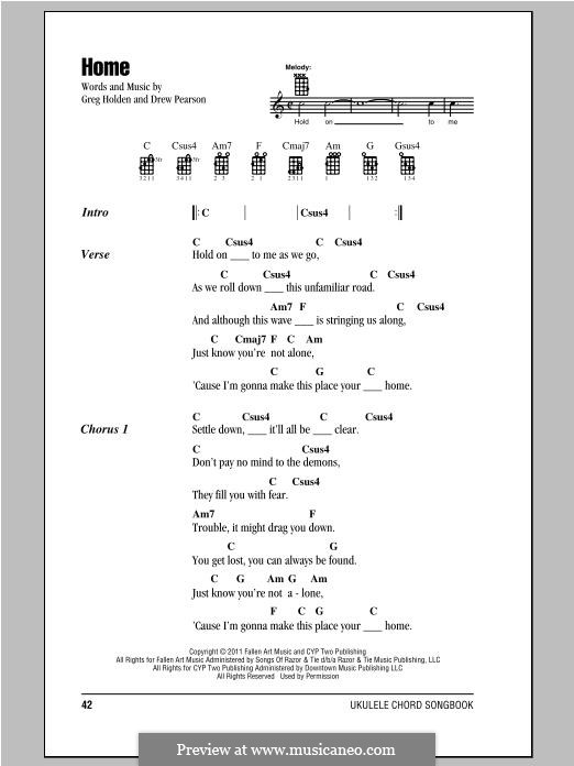 Home: Lyrics and chords by Greg Holden, Drew Pearson