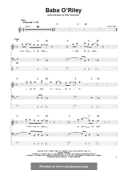 Baba O'Reilly (from Summer of Sam): For bass guitar with tab by Peter Townshend
