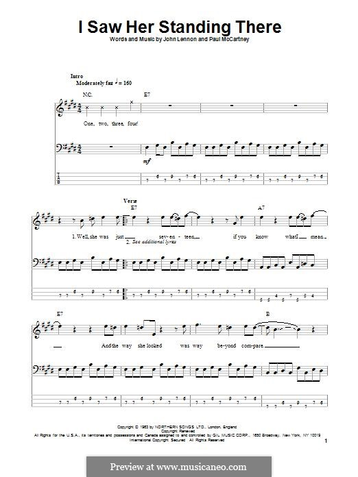 I Saw Her Standing There (The Beatles): For bass guitar with tab by John Lennon, Paul McCartney