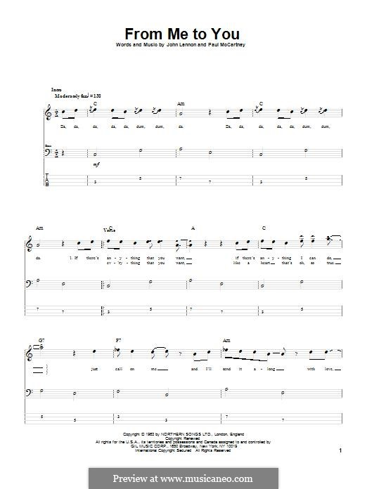 From Me to You (The Beatles): For bass guitar with tab by John Lennon, Paul McCartney