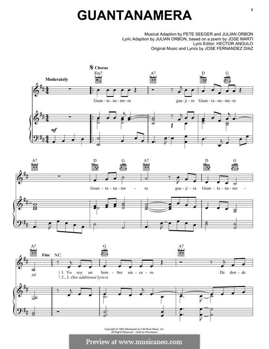 Guantanamera: For voice and piano (or guitar) by Peter Seeger