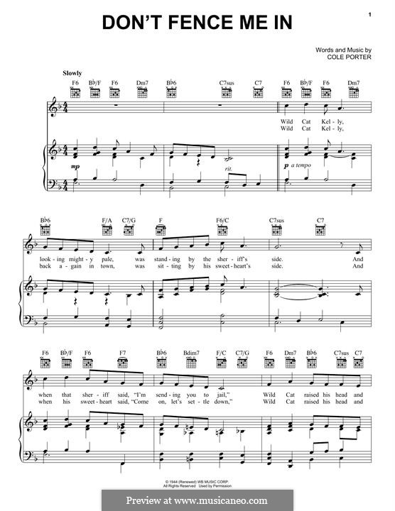 Don't Fence Me in: For voice and piano (or guitar) by Cole Porter