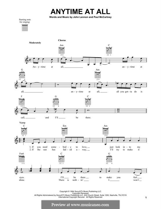 Any Time at All (The Beatles): For guitar with tab by John Lennon, Paul McCartney