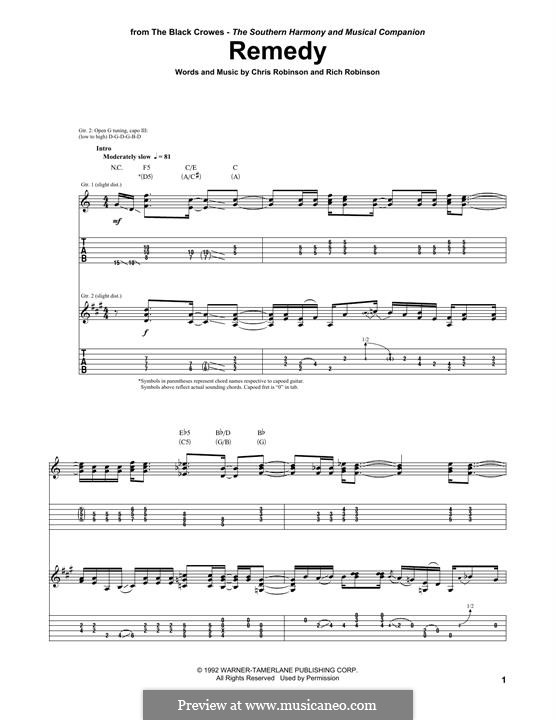 Remedy (Black Crowes): For guitar with tab by Chris Robinson, Rich Robinson