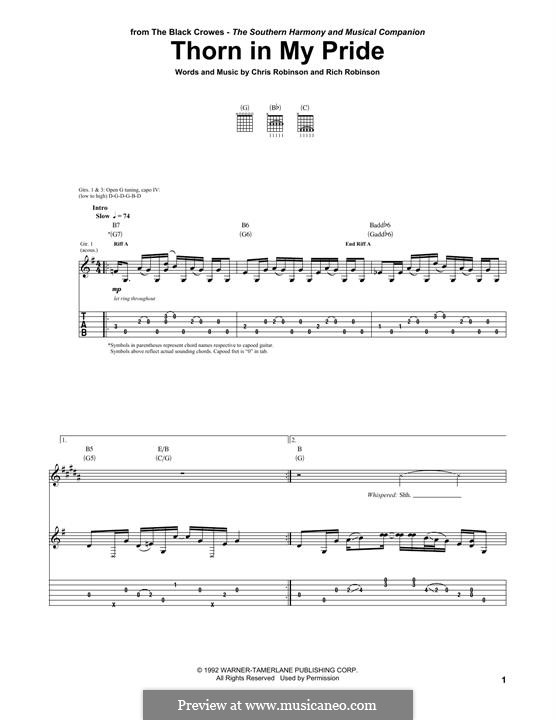 Thorn in My Pride: For guitar with tab by Chris Robinson, Rich Robinson