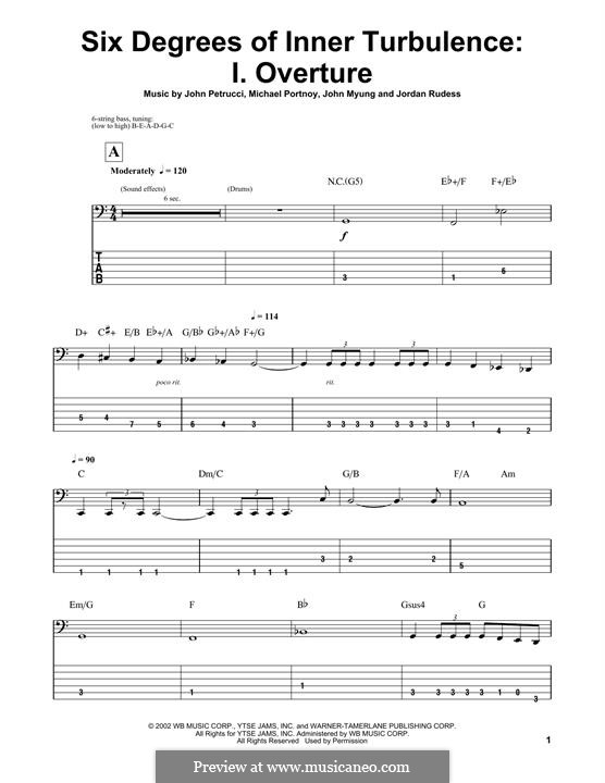 Six Degrees of Inner Turbulence (Dream Theater): I. Overture, for bass guitar with tab by Mike Portnoy, John Petrucci, John Myung, Jordan Rudess
