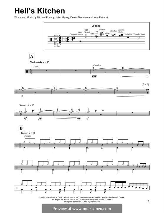 Hell's Kitchen (Dream Theater): Drum set by Derek Sherinian, Mike Portnoy, John Petrucci, John Myung