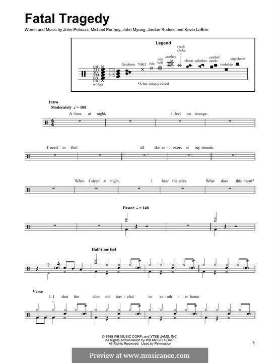 Fatal Tragedy (Dream Theater): Drum set by Mike Portnoy, John Petrucci, John Myung, Kevin LaBrie, Jordan Rudess