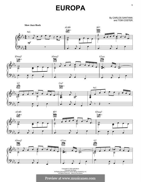 Europa (Santana): For piano by Carlos Santana