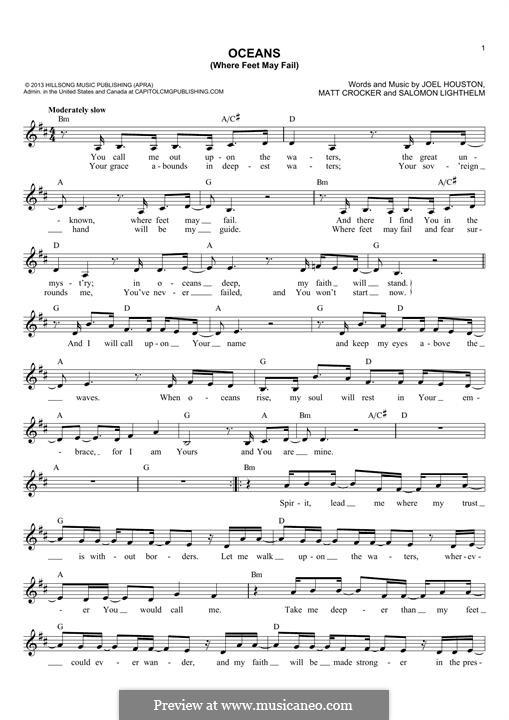 Oceans (Where Feet May Fail): Melody line by Matt Crocker, Joel Houston, Salomon Lighthelm