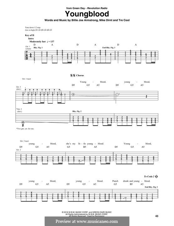 Youngblood (Green Day): For guitar with tab by Billie Joe Armstrong, Tré Cool, Mike Dirnt
