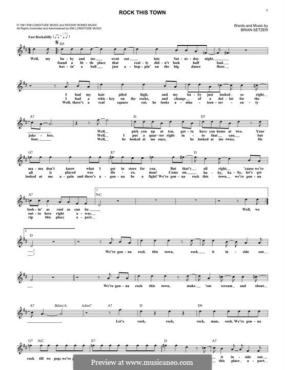Rock This Town (Stray Cats): Melody line by Brian Setzer